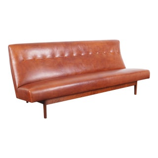 Jens Risom Leather Sofa for Risom Design For Sale