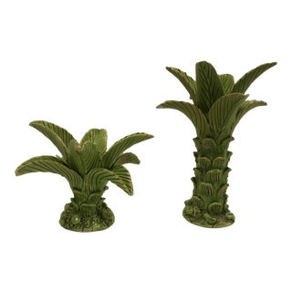 1900s Vintage French Ceramic Candle Holders- A Pair For Sale