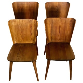 Set of 4 Goran Malmvall Swedish Pine Chairs, Svensk Fur, Sweden, 1940s For Sale