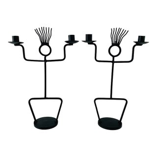 1970s Wrought Iron Sculptural Candle Holders - a Pair For Sale