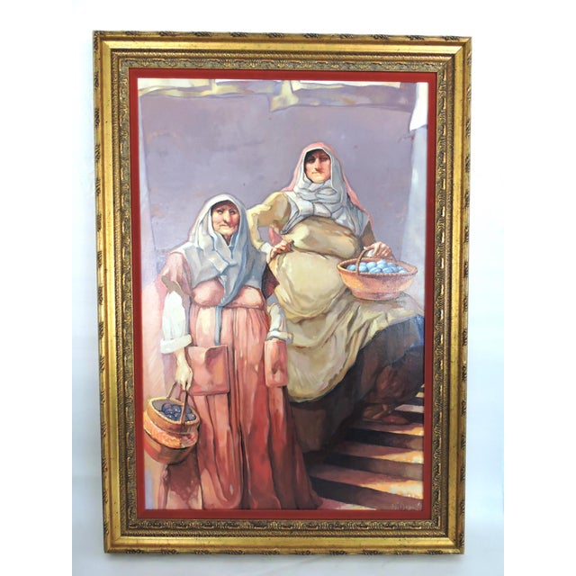 Large atmospheric oil on canvas of two imposing ladies with their wares, under a shady canopy. Good composition with warm...