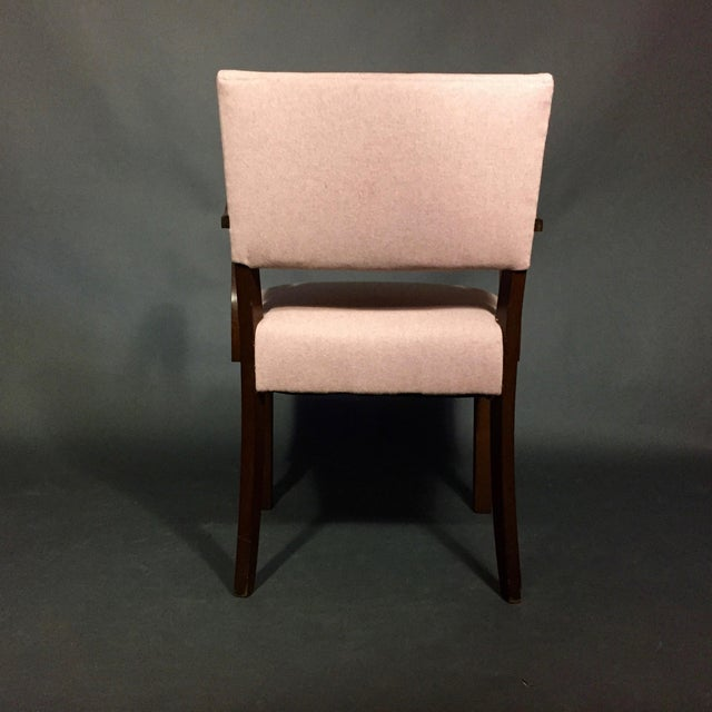 Pink 1940s Armchair in Dark Stained Oak, Felted Wool Upholstery For Sale - Image 8 of 10