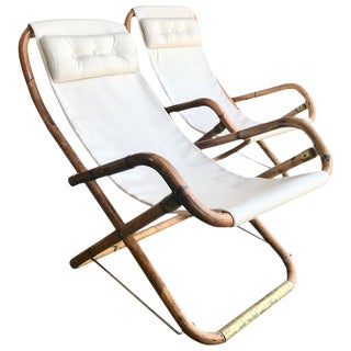 Mid Century White Campaign Chairs in Brass and Bamboo, Italy 1960s - a Pair For Sale