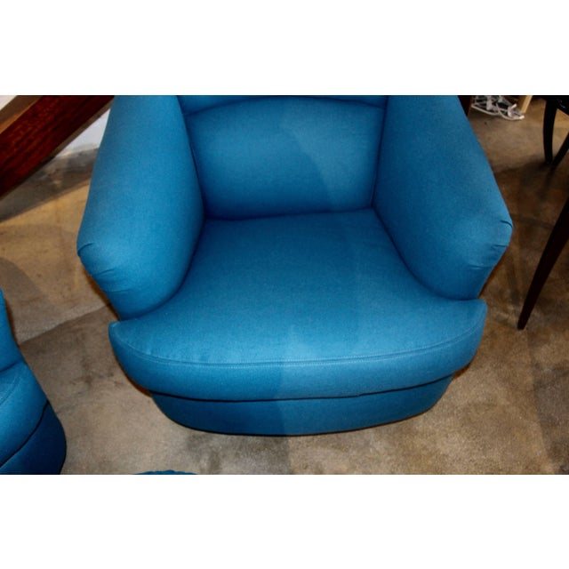 Blue Pair of Chairs With Ottoman From Directional For Sale - Image 8 of 10