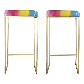 Modern Dana Gibson Art Bar Stool, a Pair For Sale