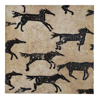 Original Art Galloping Horses on Tile For Sale