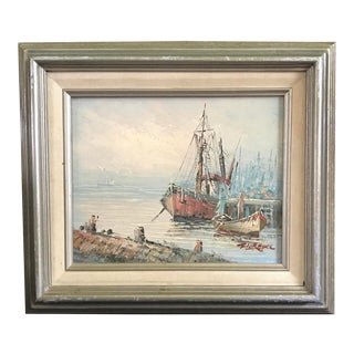 1970s Nautical Original Sail Boat Oil Painting For Sale