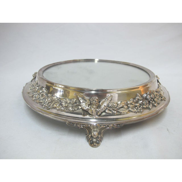 Glass Antique Silverplate Round Mirror Tray With High Relief Cherub Floral Design For Sale - Image 7 of 7
