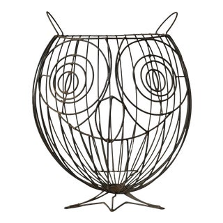 1960s Figurative John Risley Metal Owl Umbrella Stand For Sale