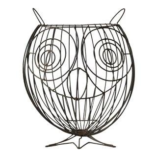 1960s Figurative John Risley Metal Owl Umbrella Stand