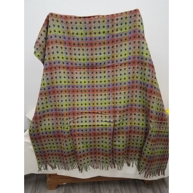2020s Merino Wool Throw Spot Dark Green - Made in England For Sale - Image 5 of 10