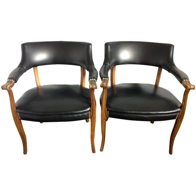 Mid-Century Style Black Armchairs - A Pair - Image 1 of 11