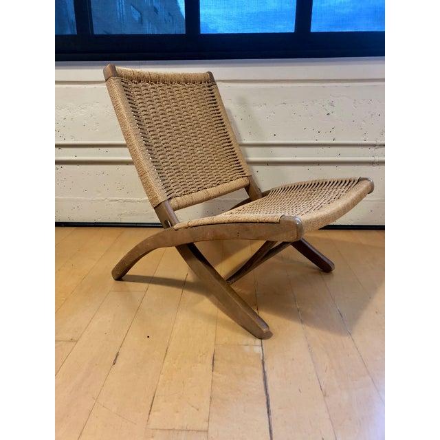 Johannes Hansen 1960's Danish Modern Folding Rope Chair & Ottoman - 2 Pieces For Sale - Image 4 of 10