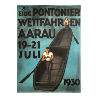 Original 1930 Swiss Punt Boat Rowing Racing Poster For Sale
