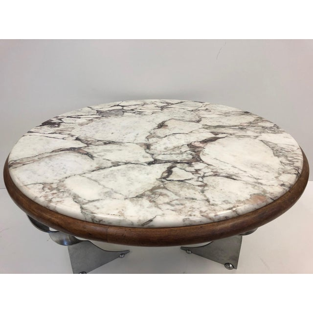 Unique Steel Base and Marble-Top Coffee Table For Sale In New York - Image 6 of 7