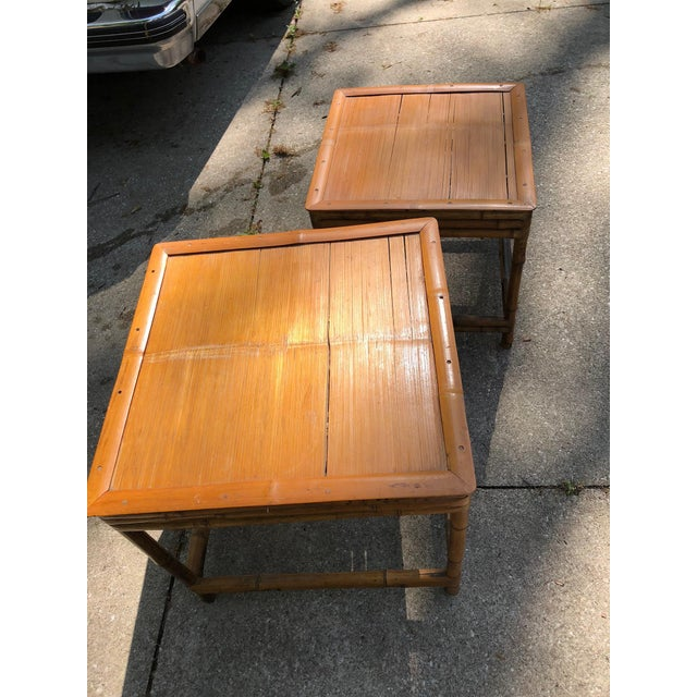 Americana Mid 20th Century Cali- Asian Style Bamboo Nesting Tables - a Pairt For Sale - Image 3 of 9