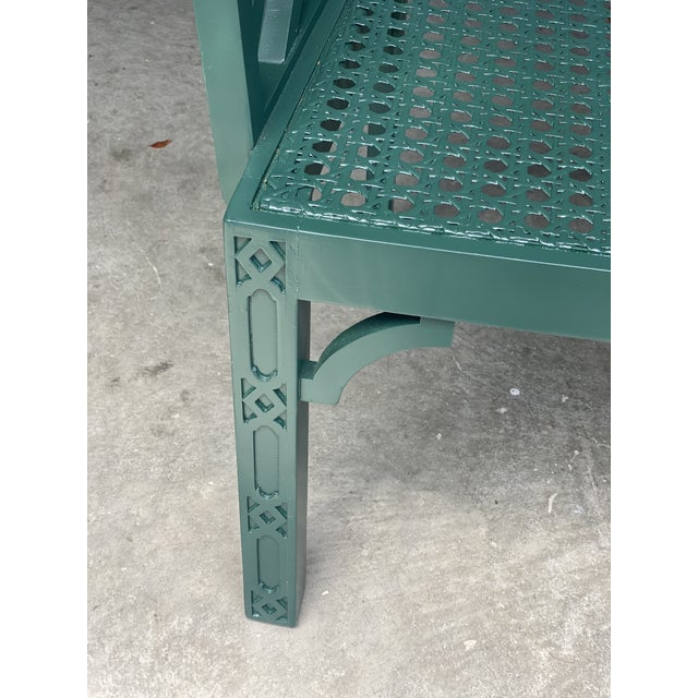 Contemporary Vintage Green Fretwork and Cane Arm Chair For Sale - Image 3 of 7