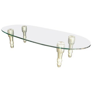1970s Hollywood Regency LaBarge Brass and Glass Coffee Table For Sale