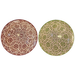 Handmade Colorful Ceramic Serving Decorative, Center Table Plates - a Pair For Sale