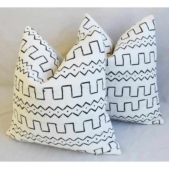 "Organic Neutral & Black Mali Tribal Mud Cloth Feather/Down Pillows 22"" Square - Pair For Sale - Image 9 of 13"