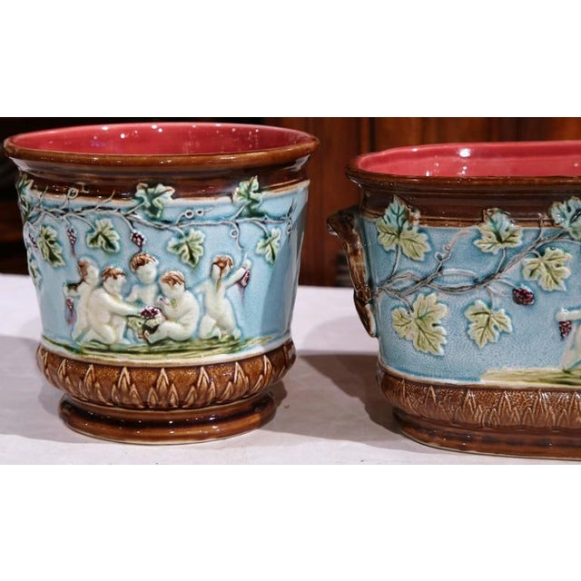 19th Century French Hand-Painted Barbotine Jardiniere & Cachepots - Set of 3 For Sale - Image 5 of 8