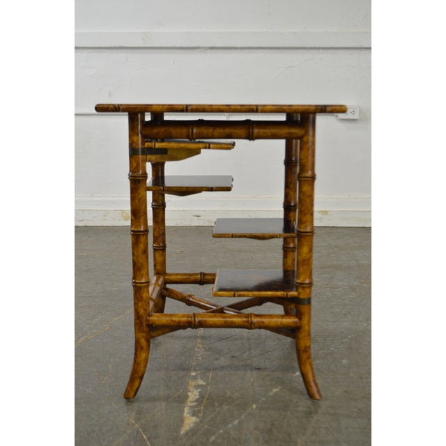 Traditional Maitland Smith Faux Bamboo Square Tiered Side Table For Sale - Image 3 of 10