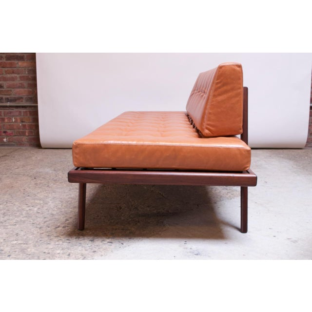 Metal Mid-Century Walnut and Leather Daybed / Settee by Mel Smilow For Sale - Image 7 of 13