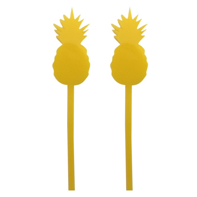Yellow Pineapple Drink Stirrers - Set of 6 - Image 1 of 3