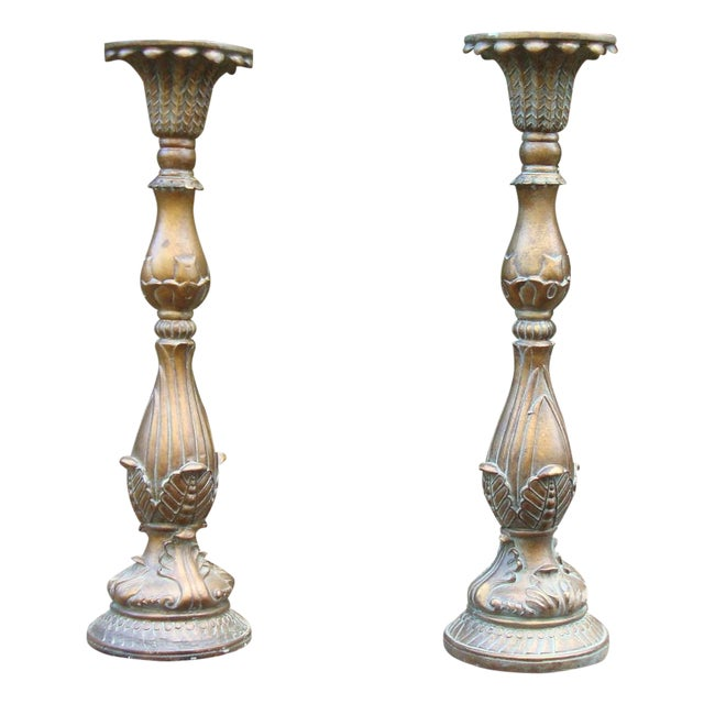 Ornate French Faux Bronze Candle Holders - Image 1 of 9