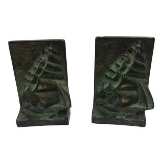 1930s Americana Bronze Sailing Ship Bookends - a Pair For Sale