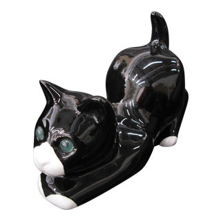 Alcobaca Black & White Ceramic Kitty Cat