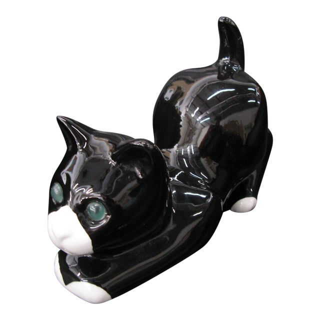 Alcobaca Black & White Ceramic Kitty Cat For Sale