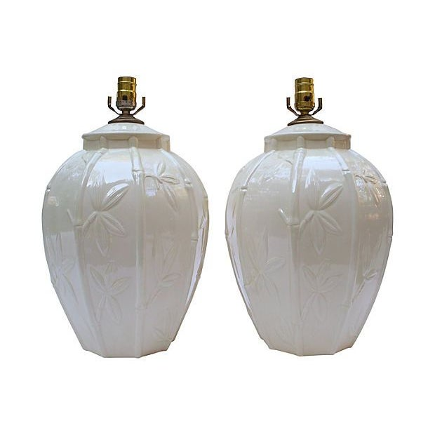 White Ceramic Bamboo Design Lamps - A Pair - Image 1 of 6