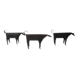 Metal Dog Figures - Set of 3 For Sale