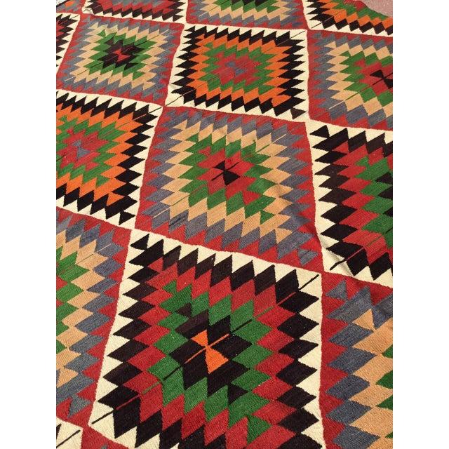 Textile Diamond Vintage Turkish Kilim Rug For Sale - Image 7 of 10