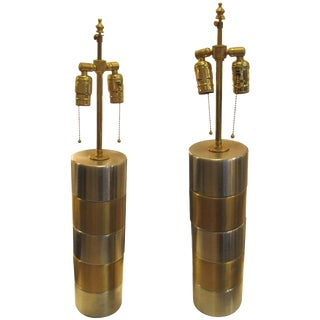 Pair of Brushed Steel and Brass Lamps For Sale