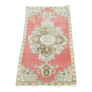 1960s Distressed Vintage Handmade Wool Rug- 1′4″ × 2′9″ For Sale