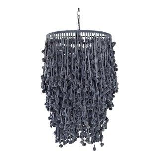 """French """"Rocambole"""" Lavender Gray Velvet Pom Pom Hanging Light For Sale"""