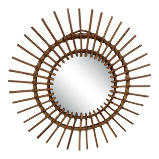 Vintage Bamboo and Rattan Sunburst Mirror For Sale