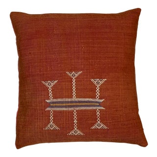 Single Cactus Silk Red Pillow For Sale