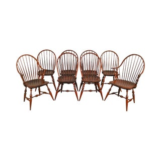 Warren Chair Works Custom Crafted Set of 8 Windsor Dining Chairs For Sale