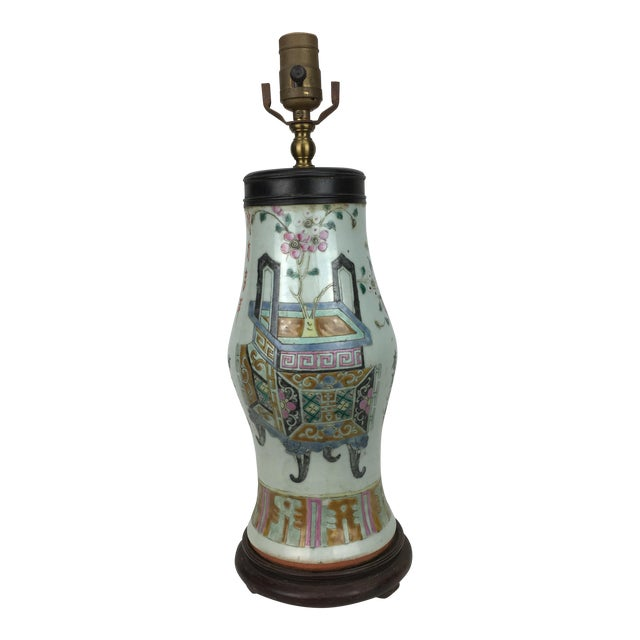 Famille Rose Vintage Table Lamp For Sale