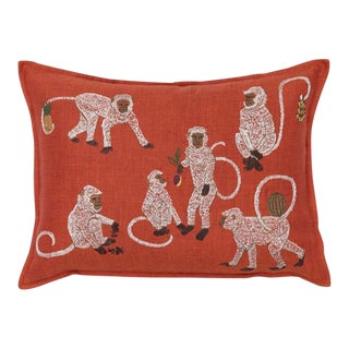 French Monkey Business Vermilion Pillow For Sale
