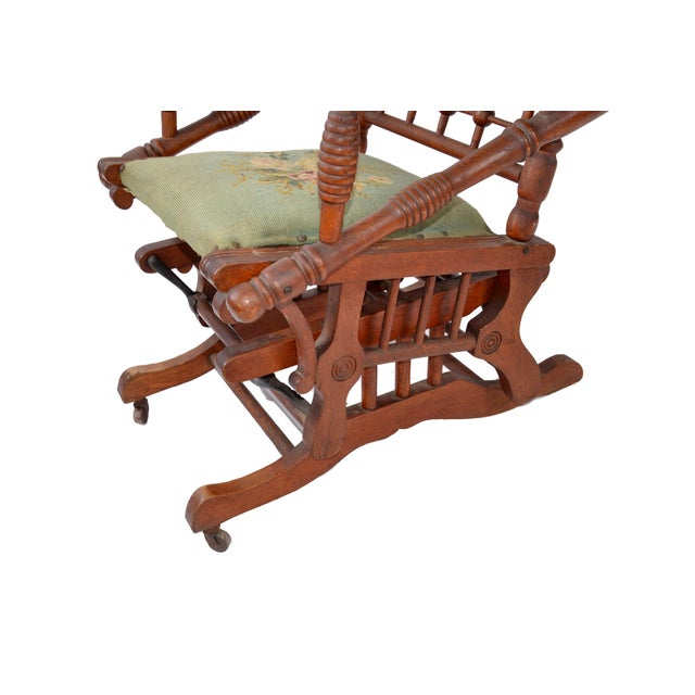 Antique Rocking Chair Hand Carved & Turned Walnut Wood Needlepoint Upholstery For Sale - Image 9 of 13