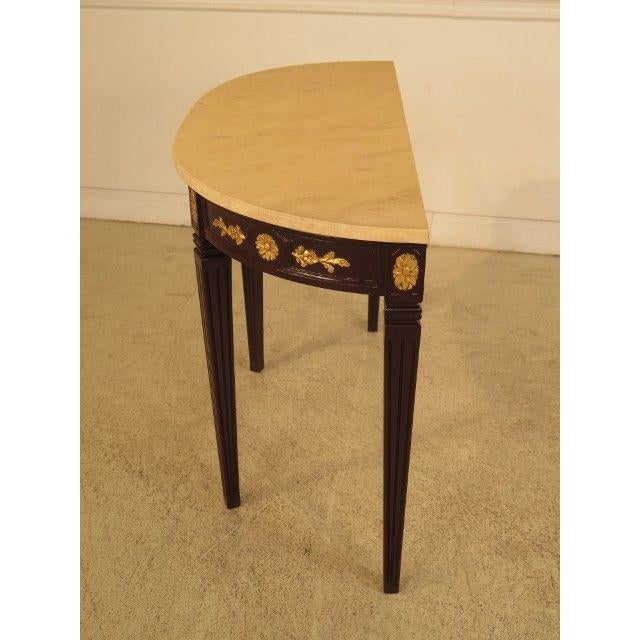 Hollywood Regency Regency Faux Marble Top Demi Lune Console Table For Sale - Image 3 of 8
