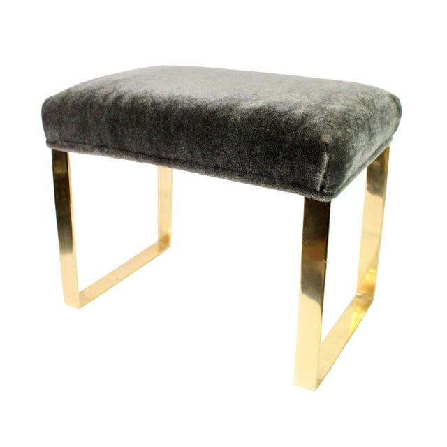Brass Hollywood Regency Brass & Vintage Sage Green Alpaca Mohair Bench - Small For Sale - Image 8 of 8