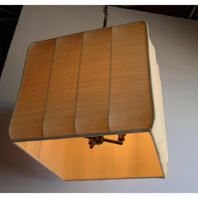 Metal Paul Marra Asian-Inspired Four Light Shaded Pendant For Sale - Image 7 of 7