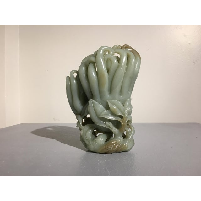 Large Chinese Carved Celadon Jade Double Buddha Hand Vase For Sale In Austin - Image 6 of 11