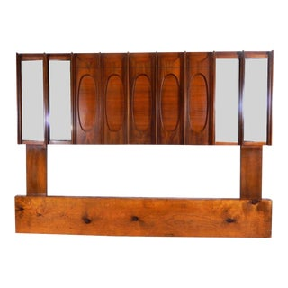 Mid-Century Brutalist Wood & Mirrored Queen Headboard For Sale