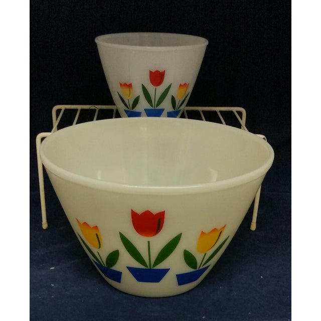 Americana Vintage Fire King Tulip Mixing Bowls - a Pair For Sale - Image 3 of 13